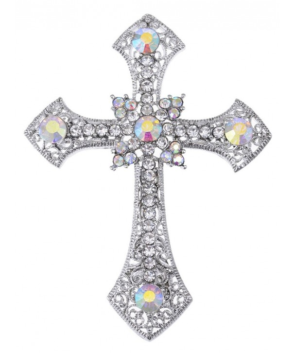 5584e2a9c Holy Anglo Saxon Clear & AB Crystal rhinestone Cross Jewelry Pin ...