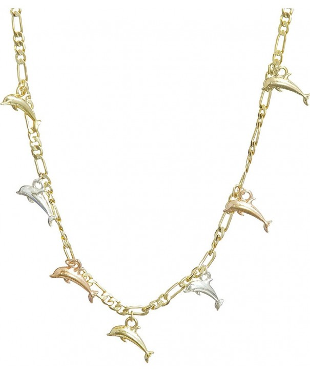 Dolphins Three tone Gold plated Figaro Necklace
