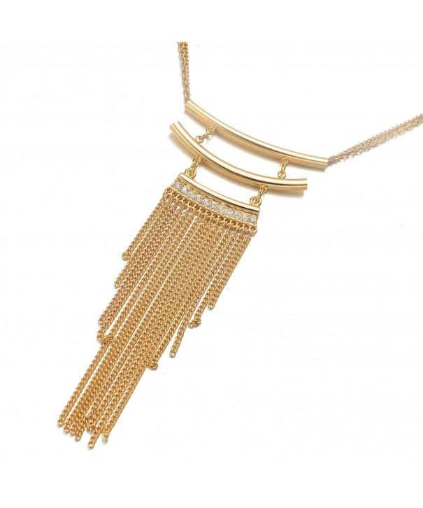 Onnea Plated Horizontal Tassel Necklace