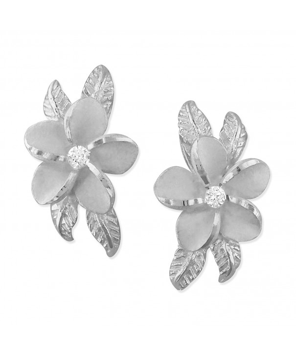 Sterling Silver Plumeria Maile Earrings