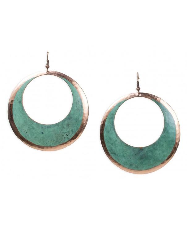 Copper Earrings Circular Green Patina