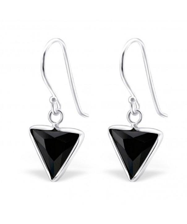 Sterling Silver Triangle Fishhook Earrings