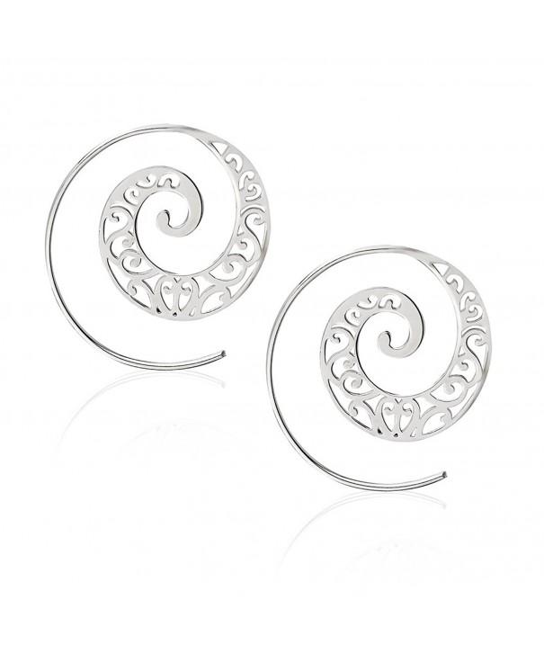 Detailed Swirl Style Statement Earrings