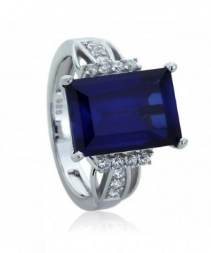 Sterling Rectangular Simulated Sapphire Cocktail
