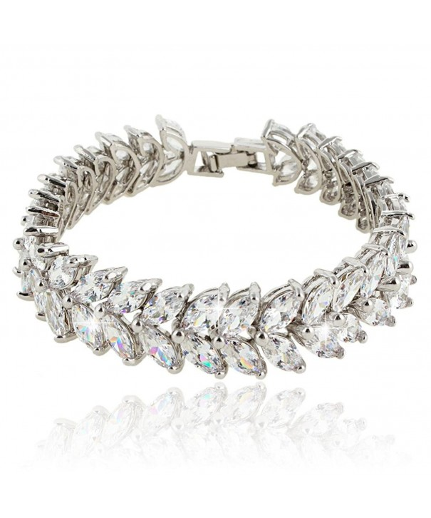 EVER FAITH Silver Tone Zirconia Bracelet
