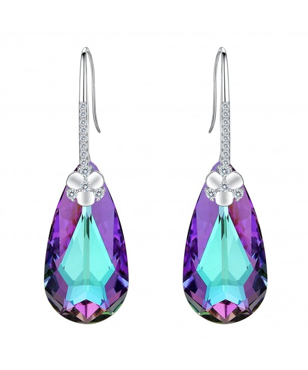 EleQueen Sterling Teardrop Earrings Swarovski