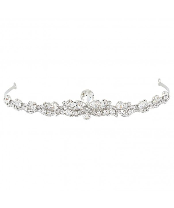 EVER FAITH Silver Tone Austrian Headband