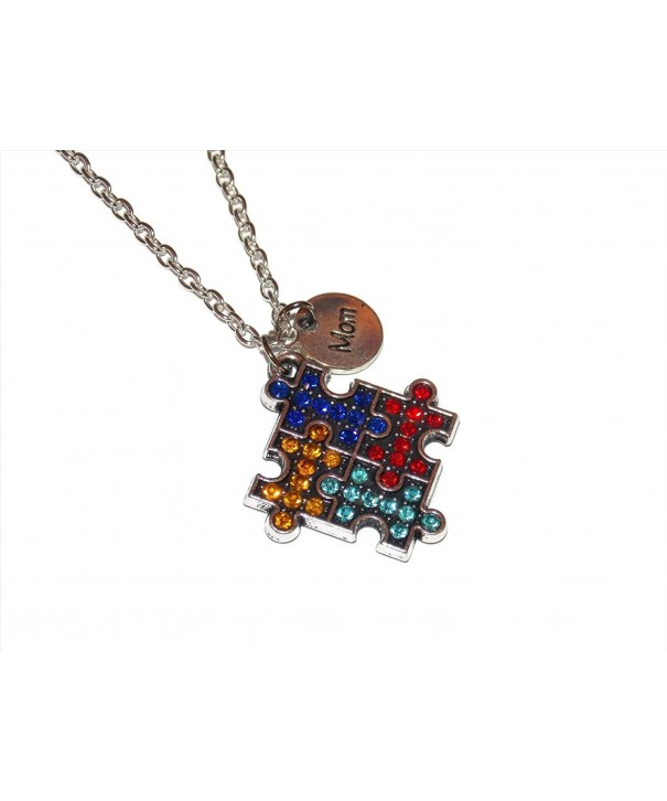 Autism Awareness Studded Puzzle Necklace