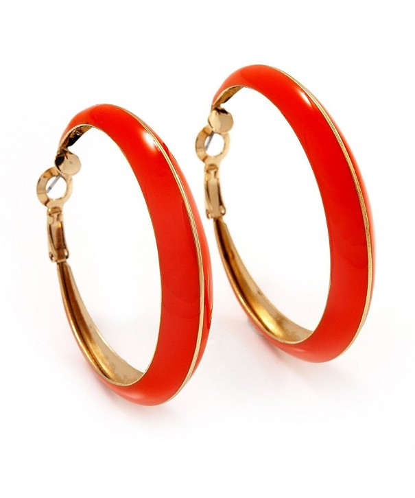 Bright Orange Hoop Earrings Metal