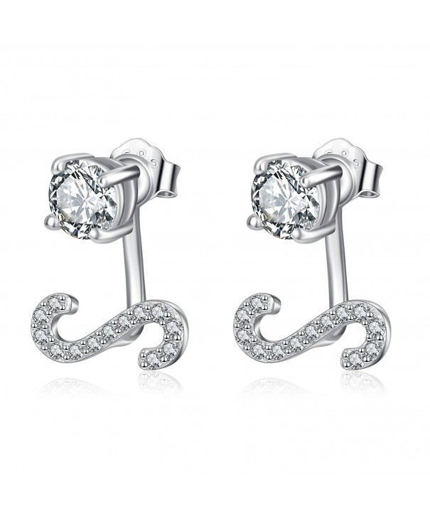 Sterling Zirconia Initial Earrings Alphabet