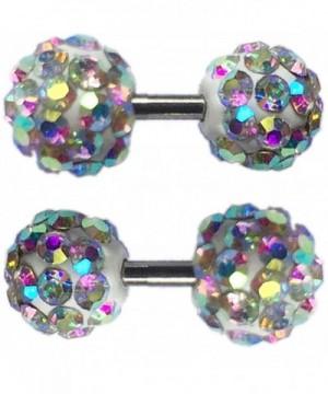 Thenice Earrings Crystal Barbell Multicolor