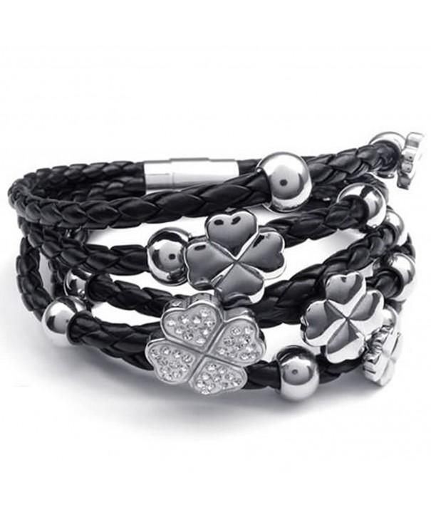KONOV Stainless Braided Leather Bracelet