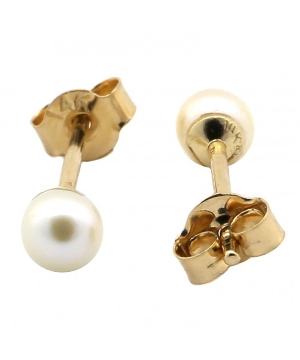 Yellow Genuine White Pearl Earrings