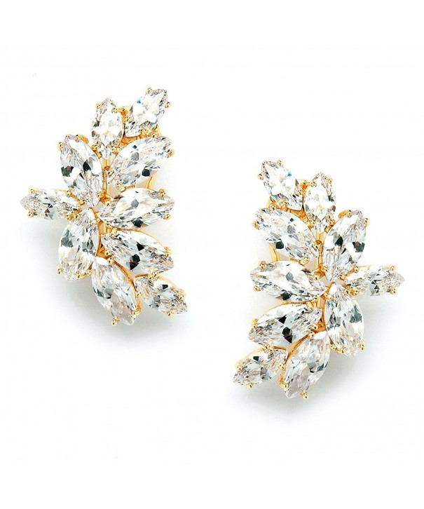 Mariell Plated Earrings Marquis Cut Clusters