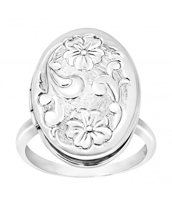 Floral Locket Ring Sterling Silver