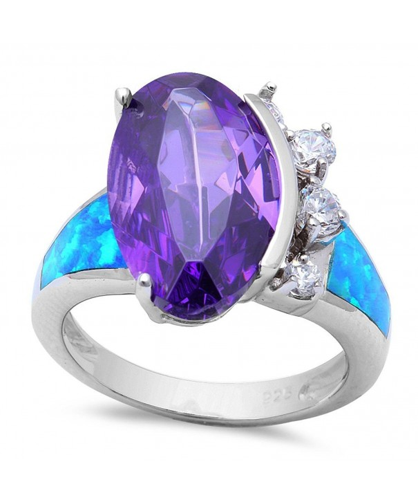 Sterling Silver Simulated Amethyst Created