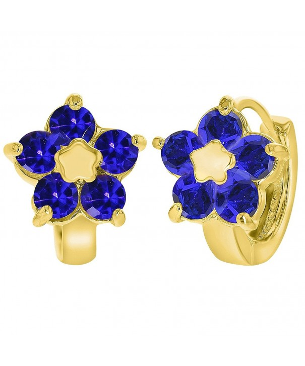 Plated Flower Huggie Womens Earrings