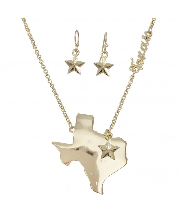 Texas State Shape Necklace Earrings
