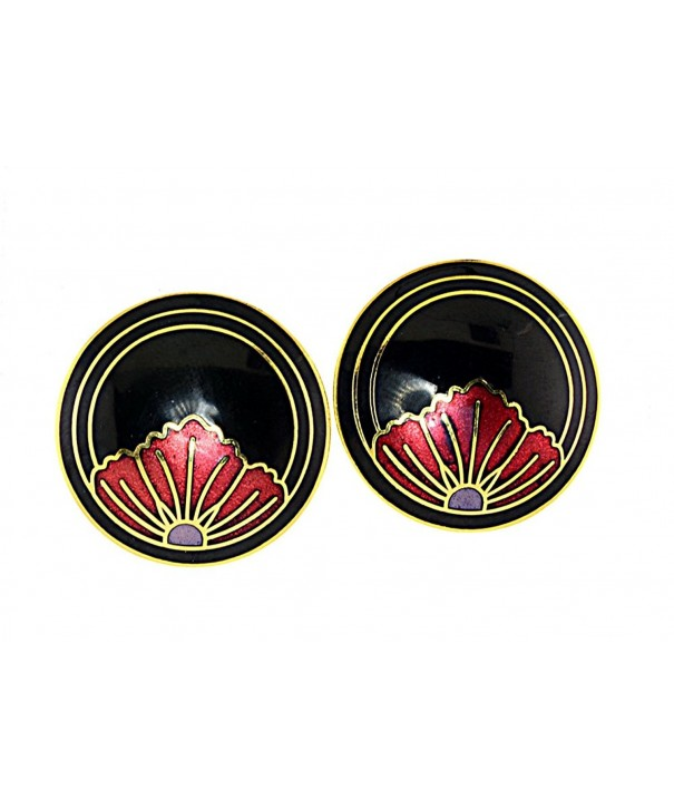 Vintage Genuine Cloisonne Gold tone Earrings Black