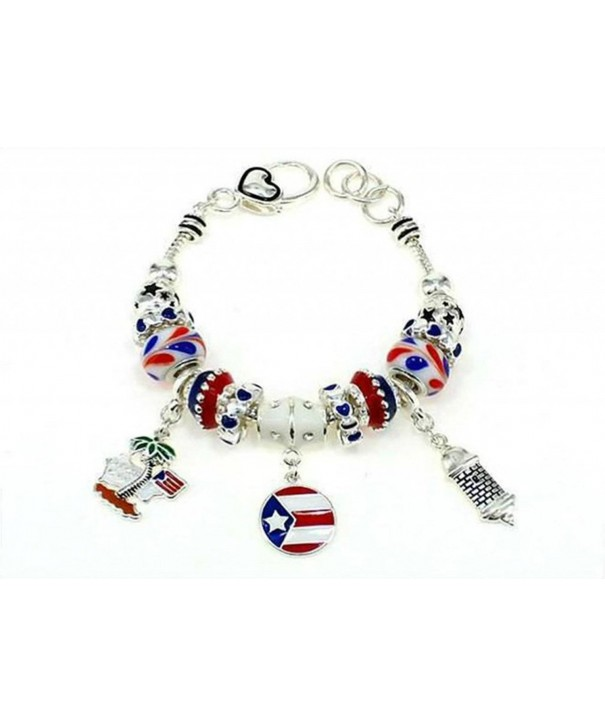 Silvertone Puerto Lobster Bracelet Charms
