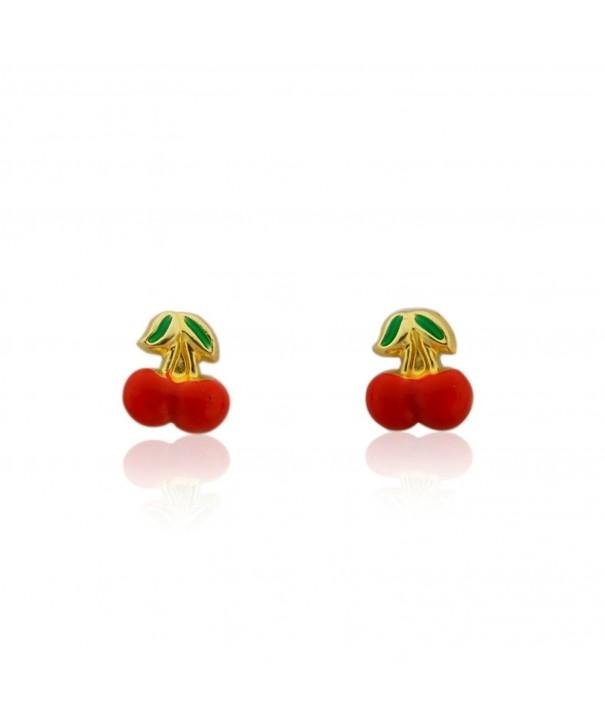 Gold Enamel Apple Stud Earrings
