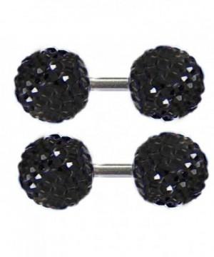 Thenice Earrings Crystal Barbell Screws