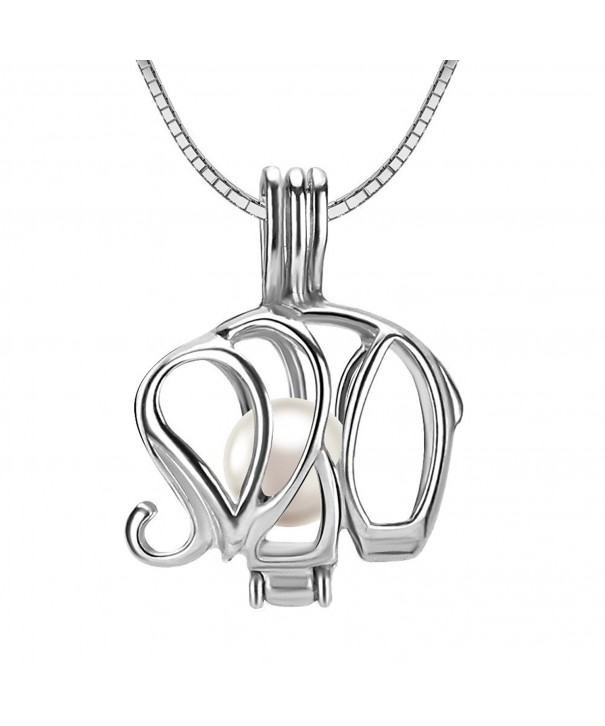 Sterling Elephant Pendant Necklace Cultured
