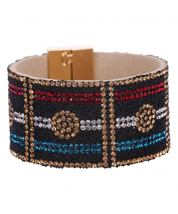 SANWOOD Leather Rhinestone Magnetic Bracelet