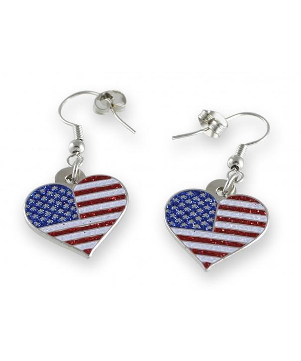 American Patriotic Heart Glitter Earrings