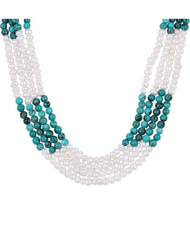 Simulated Turquoise Cultured Freshwater Necklace