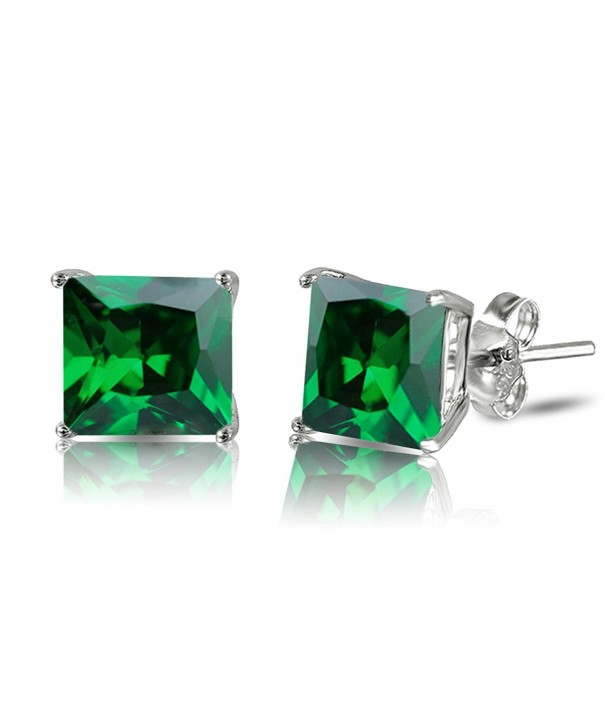 d806107847eb7 Sterling Silver Princess Cut Simulated Emerald Green Cubic Zirconia Stud  Earrings - CD12G8QDY9P