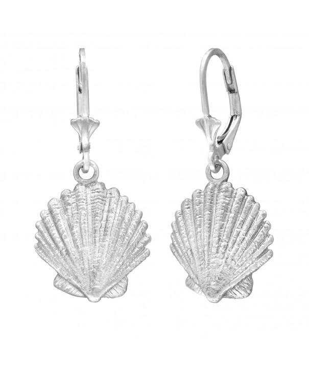 Sterling Silver Seashell Leverback Earrings