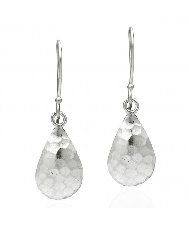 Curved Hammered Teardrop Sterling Earrings