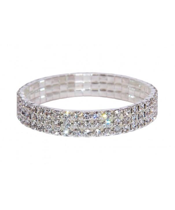 Weiss Rhinestone Stretch Bracelet Silver