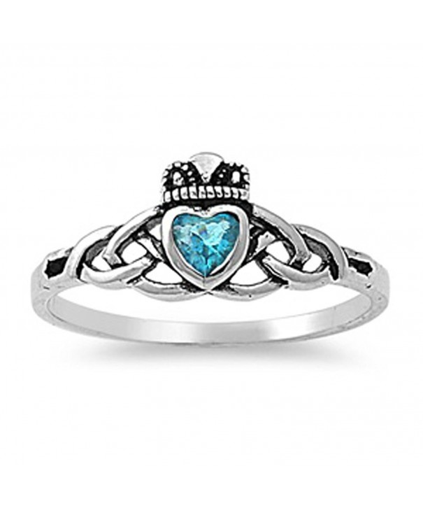 Simulated Aquamarine Claddagh Sterling Silver