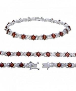 Sterling Silver Garnet Bracelet 3 10