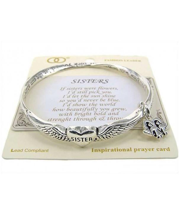 Silver tone Sisters Bangle Bracelet Prayer