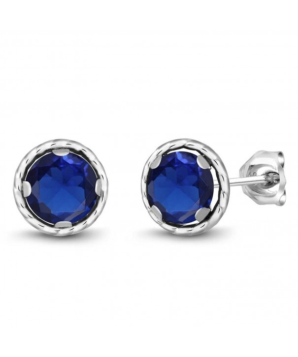 Simulated Sapphire Sterling Silver Earrings