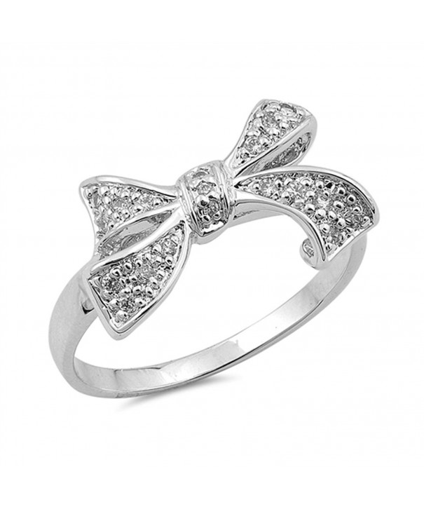 Clear Beautiful Ribbon Sterling Silver