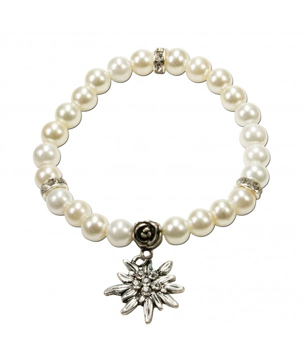 Bavarian Imitation Pearl Bracelet Edelweiss