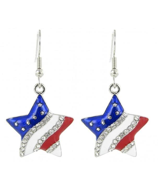 American Flag Patriotic Rhinestone Earrings