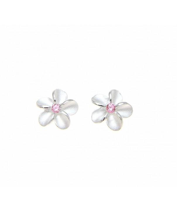 Sterling silver Hawaiian plumeria earrings