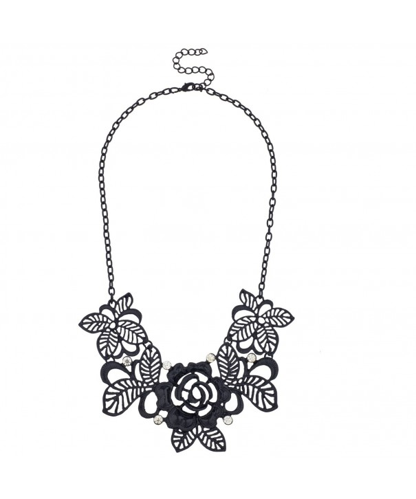 Lux Accessories Filigree Rhinestone Statement