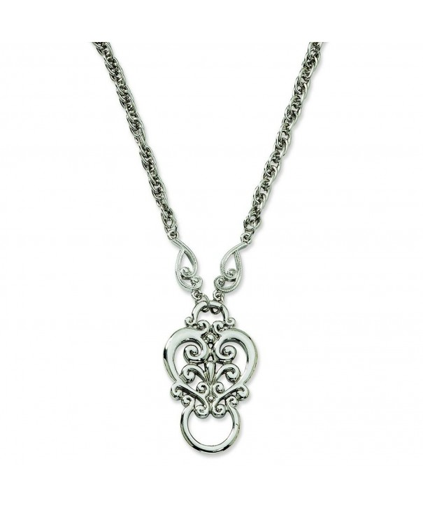 Silver tone Scroll Eyeglass Holder Necklace