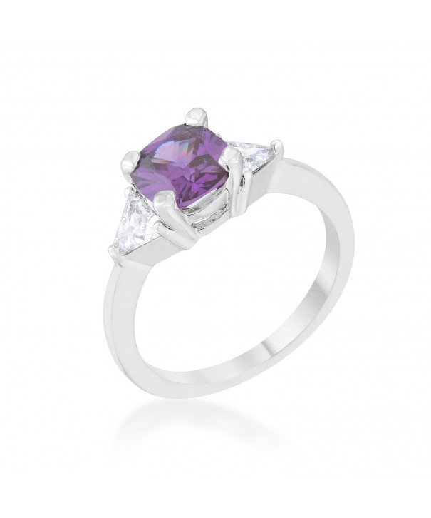 Amethyst Rhodium Cushion Classic Statement