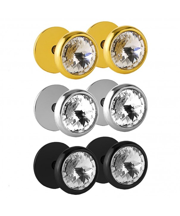 Charisma Stainless Crystal Earrings Dumbbell