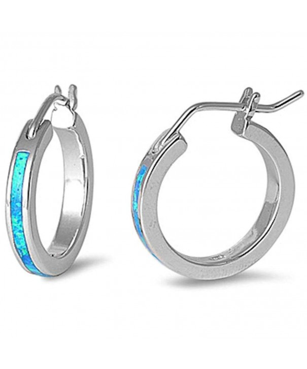 Created Round Sterling Silver Earrings