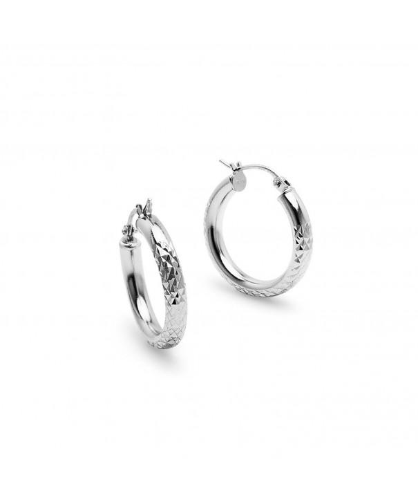 Sterling Silver 3x15mm Diamond Earrings