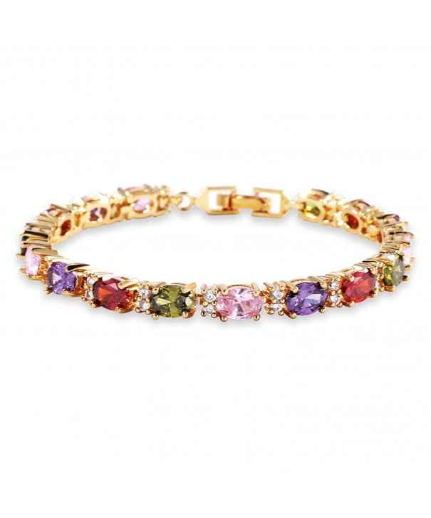 GULICX Plated Bracelet Coloured Zirconia