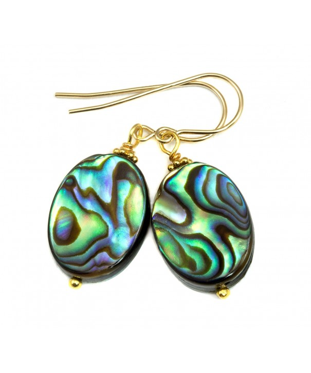 Filled Mother Abalone Earrings Peacock